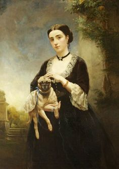 Julia Lucy Lane Mrs Her husband, Henry Arthur Hoare, was the High Sheriff of Buckinghamshire in and Justice of the Peace. They lived at Wavendon House, Buckinghamshire. Painting by Henry Richard Graves Pug Photos, Pug Pictures, Fu Dog, Pug Art, Dog Paintings, Portrait Paintings, Art Uk, Vintage Dog, Pug Love