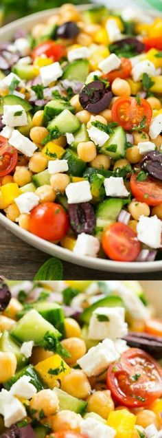 This recipe for the best Chopped Greek Salad from Dinner at the Zoo has a delicious variety of fresh vegetables with chickpeas, creamy feta cheese and olives, all tossed in a Greek lemon and herb vinaigrette.