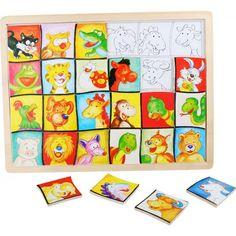 Puzzle Zvířecí hlavy, dřevěné, Legler - Didaktické hračky