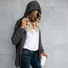 Women s Warm Outerwear Autumn Swerater Coat Winter Ladies Hooded Loose Jackets Casual Wool Cardigans 1. Click visit to buy #WomenCardigan