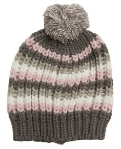 Colorful Knit Beanie - Smaller needles on brim, same pattern throughout