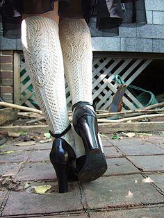 Luxurious lace stockings / Merino wool / traditional Alpine lace socks / wedding / cozy gift for her Knitting Socks, Hand Knitting, Knitting Patterns, Knit Mittens, Unique Heels, Knee Socks, High Socks, Fun Socks, Slipper Socks