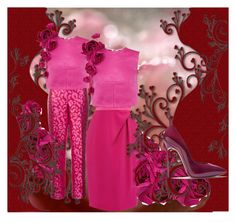 """""""Xmas Party in red roses"""" by s-a-m-hoogland on Polyvore featuring mode, Esme Vie, Oscar de la Renta, Coast en Casadei"""