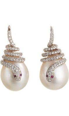 Pearl, Diamond & Ruby Snake Earrings