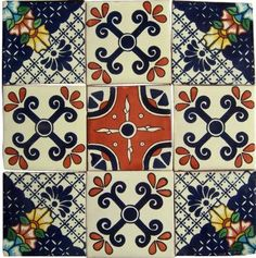 9 Mexican Hand Painted Custom Talavera Tile Set 4