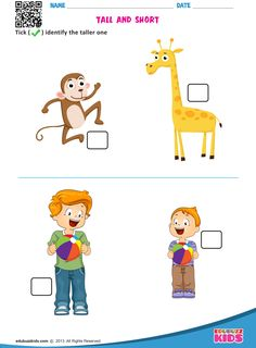 Kindergarten math tall and short worksheets with printable. Kids will be able to identify and tick the taller one and shorter one on different worksheets. Math Addition Worksheets, Shapes Worksheets, Kindergarten Math Worksheets, Worksheets For Kids, Preschool Activities, Free Preschool, Nursery Worksheets, Animal Worksheets, Alphabet Worksheets