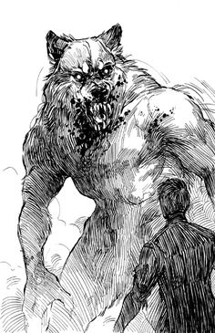 A Fair Fight by shoomlah on DeviantArt Fantasy Creatures, Mythical Creatures, Arte Teen Wolf, Dark Fantasy, Fantasy Art, Wolf Hybrid, Werewolf Art, Vampires And Werewolves, Horror Art