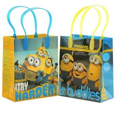 """Despicable Me Minions """" Try Harder ! """" 12 Premium Quality Party Favor Reusable Goodie Small Gift Bags - Walmart.com"""