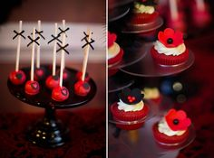'HOT' Red and Black Bridal Shower Dessert Table » mondeliceblog.com Red Bridal Showers, Bridal Shower Desserts, Elegant Bridal Shower, Candy Table, Dessert Table, 90th Birthday, Birthday Party Themes, Burlesque Party, Zombie Wedding