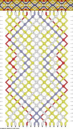 Friendship bracelet pattern 89468 -  16 strings, 4 colours