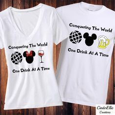 Conquering The World One Drink At A Time, Food and Wine Festival Shirt, Epcot Shirt, Food and Wine Shirt, Disney Shirt, Matching Shirt by CinderellieCreations on Etsy https://www.etsy.com/listing/471826273/conquering-the-world-one-drink-at-a-time