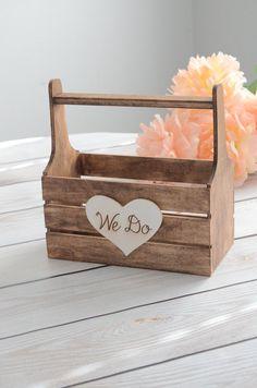 We do flower girl basket  wooden flower by BellaBrideCreations