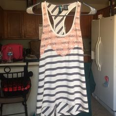Grey and Cream Stripe Lace Detail Tank  So cute in person and on! Love the color combo of blush pink over the grey and cream stripes.  Weavers Tops Tank Tops