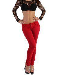 Sexy Damen Jeans Leggings Treggings Röhre Skinny in Rot XS/34 - XL/42