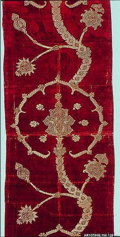 Length of velvet Date: 16th century Culture: Spanish or Italian Medium: Pile on pile cut, voided, and brocaded velvet of silk and gold metallic thread with bouclé details Dimensions: L. 87 x W. 22 1/2 inches (221.0 x 57.2 cm) Classification: Textiles-Velvets Credit Line: Fletcher Fund, 1946 Accession Number: 46.156.120