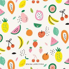 Fruit Pattern Design Etsy Ideas For 2019 Abstract Illustration, Fruit Illustration, Pattern Illustration, Food Illustrations, Food Patterns, Kids Patterns, Print Patterns, Surface Pattern Design, Pattern Art