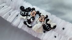 Mickey and Minnie Mouse Bridal Garter Themed Tulle Net Elegant Wedding Garter Set by Allofyou on Etsy