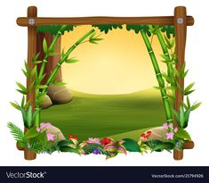 Bamboo trees in frame nature vector image on VectorStock Page Borders Design, Border Design, Back To School Wallpaper, Animal Pictures For Kids, School Border, Boarders And Frames, Animal Art Projects, School Murals, Nature Vector
