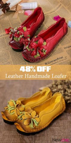 86b9e9a06f1  Up to 48% off Hot Sale Genuine Leather Handmade Flower Loafers Soft Flat