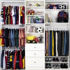 Closet ideas... would have to omit the toys, as the boys have lots of clothing.