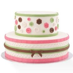 Decorate a cake bouncing with buttons, ribbon and rick-rack shapes molded in our Fabric Designs Gum Paste and Fondant Mold. cute for a baby shower cake Bolo Fondant, Fondant Molds, Cake Mold, Fondant Cakes, Button Cake, Pretty Cakes, Beautiful Cakes, Amazing Cakes, Cupcakes