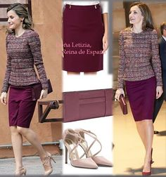 Letizia wore a skirt of Hugo Boss, shoes of Magrit, bag of Acosta. Letizia already had this look in December 2016