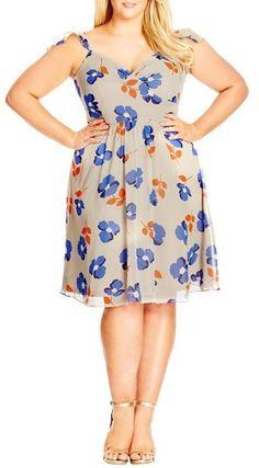 City Chic 'Retro Ruffle' Floral Print Chiffon Fit & Flare Dress (Plus Size)