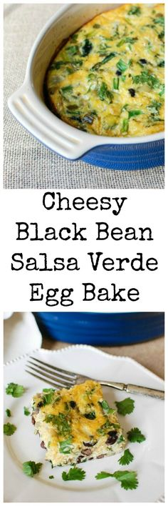 Cheesy Black Bean Salsa Verde Egg Bake has Southwestern flavors that mix together with spinach, egg, black beans, cheese, green onions, cilantro and salsa verde. This is perfect for breakfast, brunch or even a lunch. // A Cedar Spoon