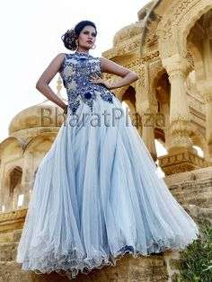Ravishing grey color #Evening #Gown fabricated on net with gleaming kundan, cutdana, diamantes and sequins work. Item Code ; GWN803 http://www.bharatplaza.com/new-arrivals/gowns.html