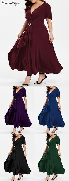 c07c489e4b1 Short Sleeve High Waist Flare Dress.Buy 2 Get 10% Off.  dresslily. DressLily  · Plus Size Dresses