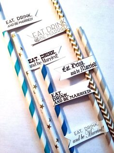 Eat Drink and be Married Wedding Party Flags on Paper Straws