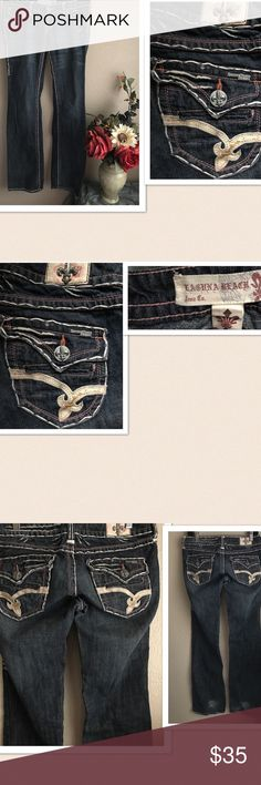 """Laguna Beach Pocketed Jeans Laguna Beach Pocketed Jeans. Detailed stitching design with flap back pockets. Distressed design in the hem. Size: 28. Seam: 35.5"""", Length: 41"""". Gently washed & worn. Excellent condition. Laguna Beach Jeans Straight Leg"""
