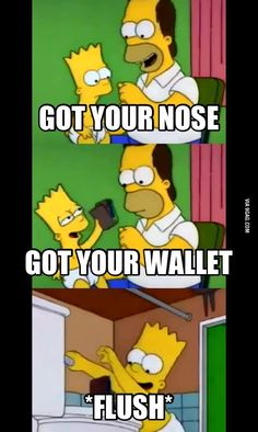 "The Simpsons: ""Got your wallet!"" The Simpsons: ""Got your wallet!"" The post The Simpsons: ""Got your wallet!"" appeared first on Paris Disneyland Pictures. Simpsons Funny, Simpsons Quotes, Simpsons Art, Simpsons Characters, Adult Cartoons, Funny Cartoons, Cartoon Jokes, Cartoon Art, Funny Relatable Memes"