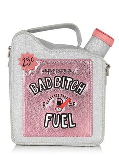 Funny and creative bag in the shape of the fuel bottle. Satin material and gold plated chain, around long. Perfect for rebels with a sense of humor! Unique Handbags, Unique Purses, Unique Bags, Cute Purses, Purses And Handbags, Crossbody Shoulder Bag, Crossbody Bag, Satchel, Shoulder Bags