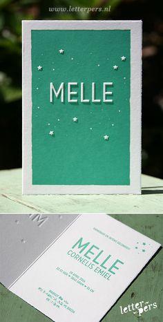 letterpers_letterpress_geboortekaartje_melle_mintgroen_sterren_preeg_strak