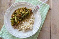 Lekker en Snel: Romige sperziebonen met gehakt, rijst, ui, knoflook,paprikapoeder, chilipoeder, room