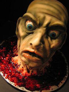 Decapitated head cake - Zombie Cake #Zombie #Zombies