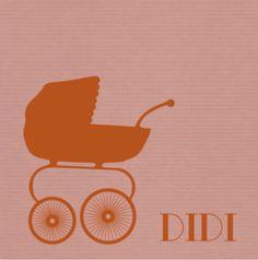 Een lief, vintage geboortekaartje voor een meisje met een silhouet van een kinderwagen op een oudroze papieren achtergrond. De kaart is naar eigen wens aan te passen.