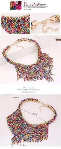 Diy Jewelry Ideas : Bohemia Multicolor Beads Decorated Weave Tassle Design Alloy Fashion Necklaces #diyjewelry