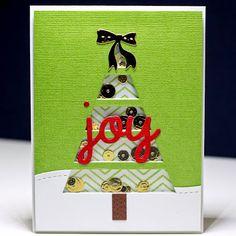 Embellish My World shaker card - MFT Christmas tree cut out die, thin chevron background stamp.  Lil' Inker designs joy, bunnies bow.  Mama Elephant dies.