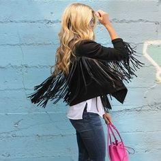 Velvet by Graham and Spencer Tiffany Fringe Jacket available in Black with Faux Leather Fringe