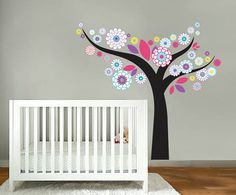 Kids tree vinyl wall decal Floral with leaves by wallinspired, $95.00