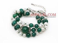 Three Strands White Freshwater Pearl and Green Agate Bracelet with Extendable Chain is from aypearl.com.