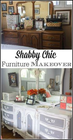 With both chalk paint, Behr paint and a little bit of distressing, this bedroom furniture went from dark and outdated to shabby chic gorgeous! Terrific inspiration for bedroom makeovers on a budget with yard sale treasures, DIY and repurposing projects. #shabbychicdressersmakeover #shabbychicfurnitureforsale