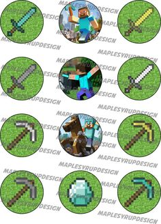 Minecraft Party Circles / Cupcake Toppers Birthday Board, 9th Birthday, Birthday Ideas, Minecraft Birthday Cake, Minecraft Party, Cupcake Liners, Cupcake Toppers, Bottle Top Crafts, Party Themes For Boys