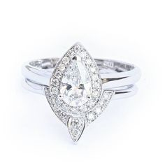 Pear Shaped Diamond Engagement Ring with Matching Side Diamond