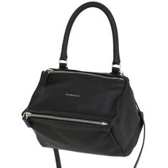 Givenchy Women Small Pandora Waxed Leather Bag (2 800 AUD) ❤ liked on Polyvore featuring bags, handbags, shoulder bags, black, 100 leather handbags, zipper purse, genuine leather purse, zip shoulder bag and leather shoulder handbags