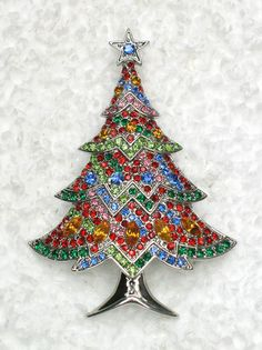GORGEOUS MULTICOLORS RHINESTONE CRYSTAL CHRISTMAS TREE PIN BROOCH D206 | eBay