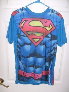 0277cef69ce DC COMIC SUPERMAN SHORT SLEEVE MEN S MEDIUM COSPLAY COSTUME SHIRT REMOVABLE  CAPE  SPENCERS  GraphicTee