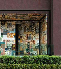 facade with antique tiles